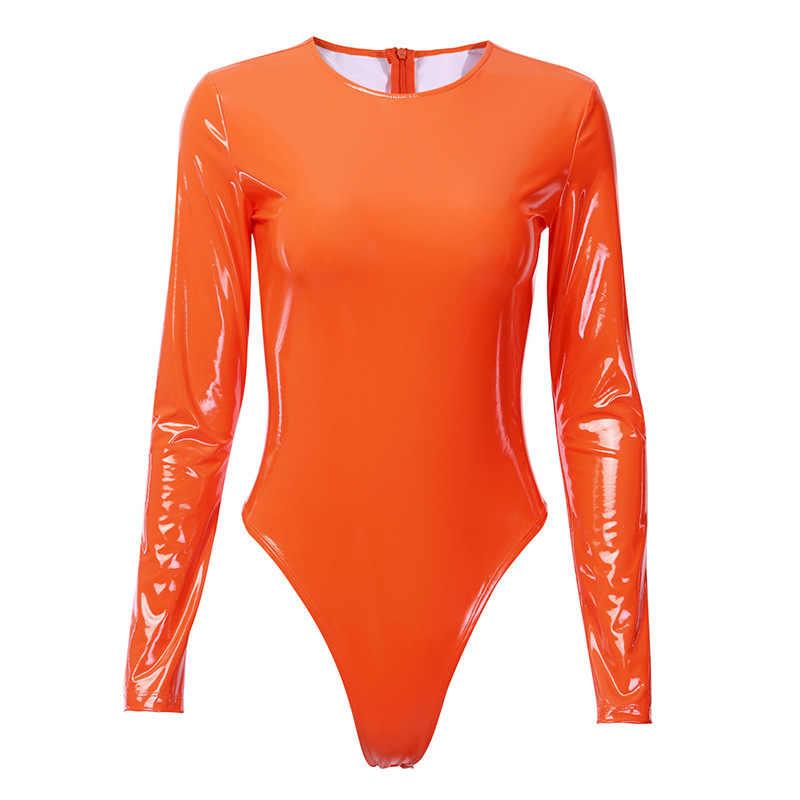 Body de cuero PU Sexy manga larga cuello redondo ajustado 2019 Otoño Invierno mujer cuerpo Streetwear Fiesta Club Body Bodycon