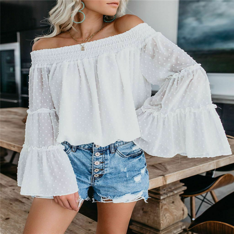 Autumn Off Shoulder Tees 2019 Women Fashion Casual Off Shoulder Slim Tops Blouse Party Sexy Trumpet Sleeve Shirt Plus Size S-XL