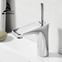 Basin Faucets Bathroom Sink Faucet Deck Mounted Hot Cold Water Basin Mixer Taps Polished Chrome Lavatory Sink Tap 855007