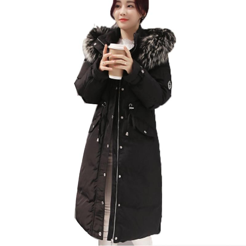 Down Duck White Jacket Women Thicken Warm Real Fur Slim Waist Down Coat Medium Long Parka Coat Female Doudoune Femme XC009