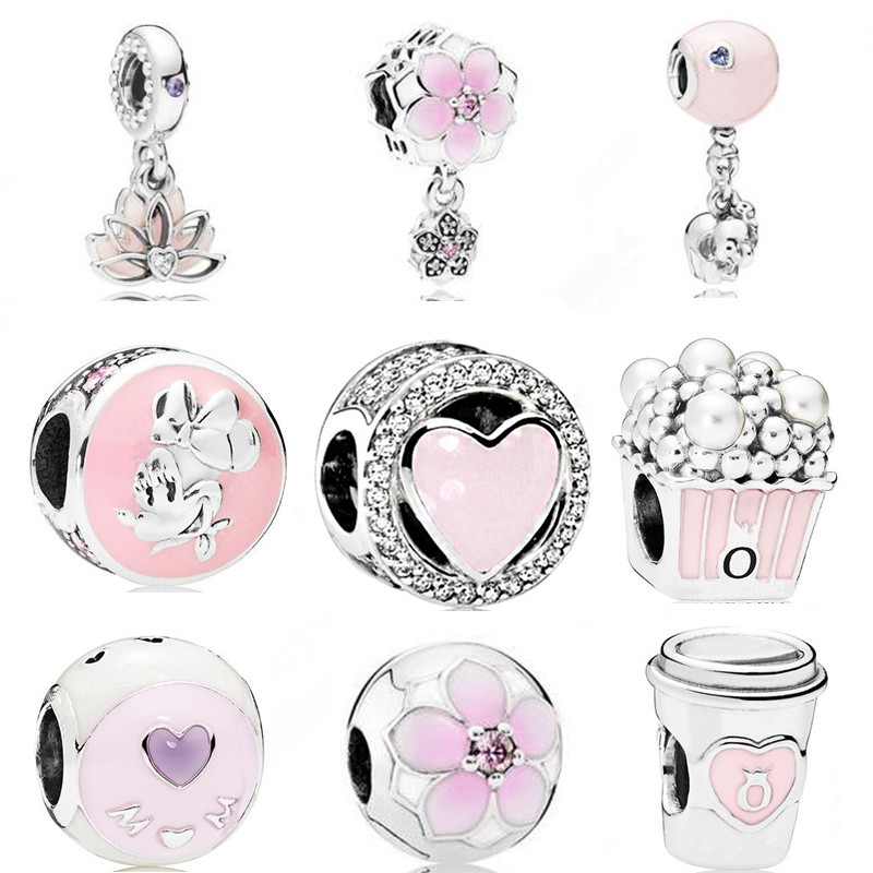 dodocharms The New Original Pendant Gift Fashion Blue Fit Pandora Silver Color Bracelet Pink Bead Necklace Heart-shaped(China)