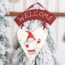 Christmas Lovely Lightweight Wooden Snowman Heart Shape Welcome Hanging Sign Tag Ornament Xmas Party Decoration  Decor
