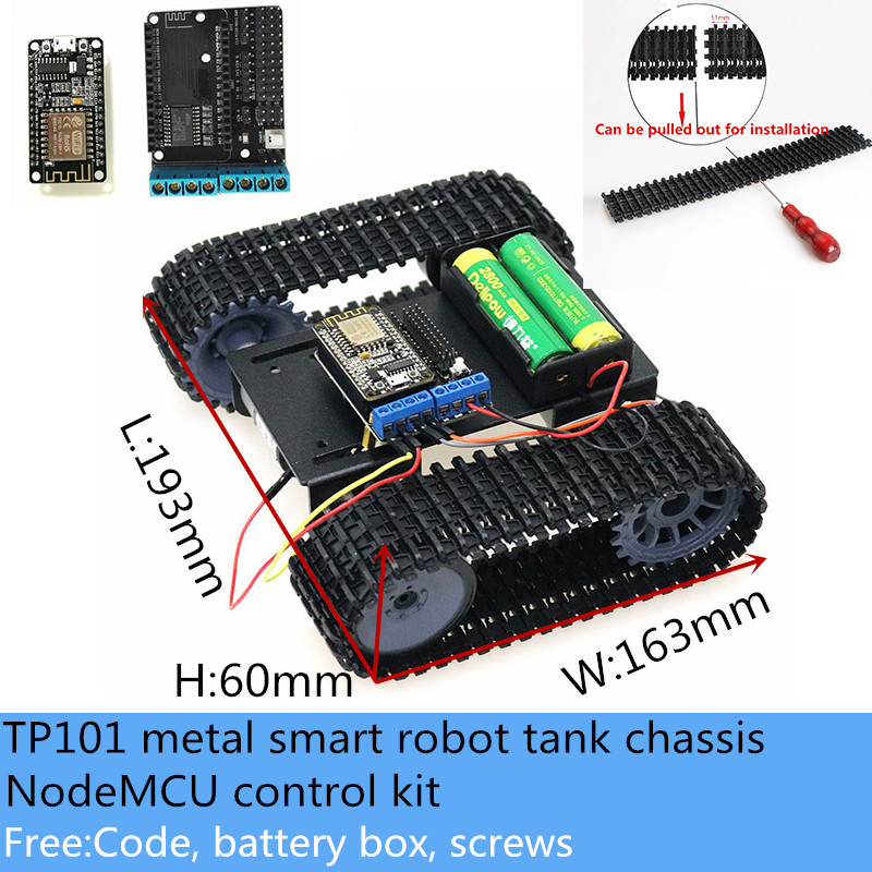 Châssis de Robot RC intelligent, contrôle Wifi sans fil, métal, avec Kit de commande NodeMCU, moteur 33GB-520 cc, éducation pour Arduino