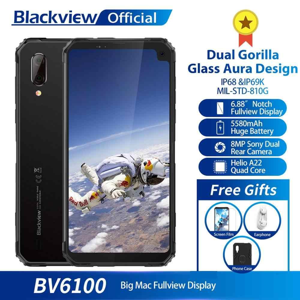 "Blackview BV6100 IP68 teléfono móvil impermeable 3 GB + 16 GB Android 9,0 teléfono móvil exterior 6,88 ""Pantalla 5580 mAh smartphone robusto"
