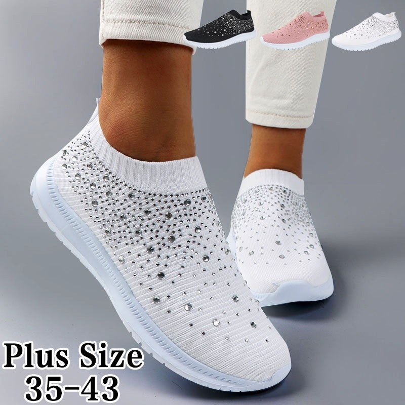 WDHKUN Women's Ladies Ankle Shoes Flat Loafers Crystal Fashion Bling Sneakers Casual Ladies Slip On Breathable Casual Shoes