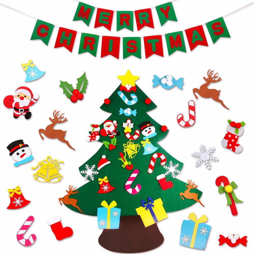DIY войлочные игрушки для рождественской елки настенные подвесные украшения наклейки рождественские украшения детский подарок для украшения для дома на Рождество