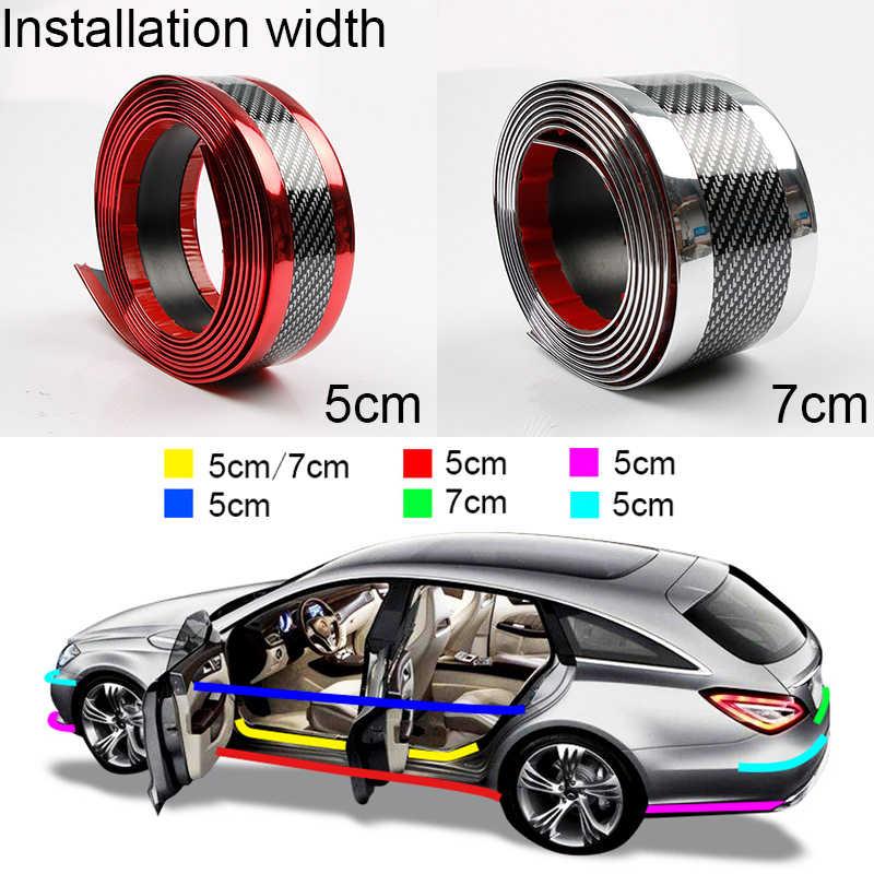 5D araba kapı eşiği koruyucu karbon Fiber kauçuk tampon şeritleri oto Anti Scratch itişme koruyucu araba çıkartmaları dış aksesuarlar