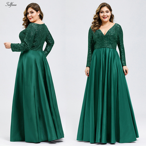 Image 2 - Fashion Plus Size Women Dress Sequined Deep V Neck Full Sleeve Elegant Navy Blue Stain Maxi Party Dress Vestidos De Festa 2020
