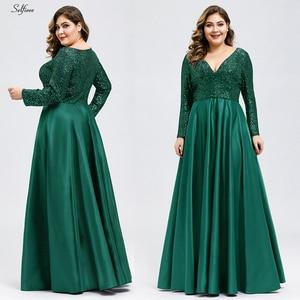 Image 2 - אופנה בתוספת גודל נשים שמלת נצנצים העמוק V צוואר מלא שרוול אלגנטי כחול כהה כתם מקסי המפלגה שמלת Vestidos דה Festa 2020