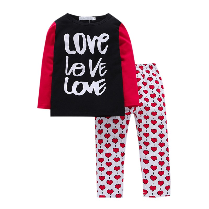 hilittlekids Autumn Winter Baby Boys Girls Family Pajamas Simple Trousers 2 Pcs Alphabet Printed T shirt Printed Red Dot Suits in Clothing Sets from Mother Kids