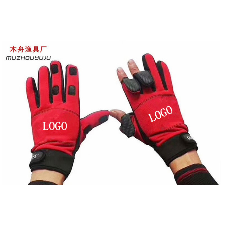 Fishing Gear Thick Winter Fishing Gloves Waterproof Windproof Warm Dew Three Refers to Lure Gloves Fishing Gloves Cycling Gloves|Floodlights| |  - title=