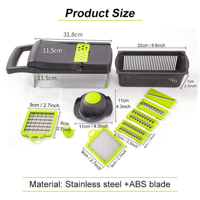 Multifunctional Vegetable Cutter 7Dicing Blades Mandoline Slicer Carrots Peeler Potato Cheese Grater Chopper Kitchen Accessories 2