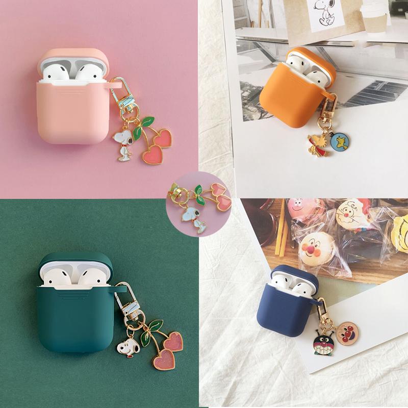 Cute Cherry Dog Pendant Silicone Case For Apple Airpods Case Air Pods Accessories Bluetooth Earphone Headphone Protective Cover