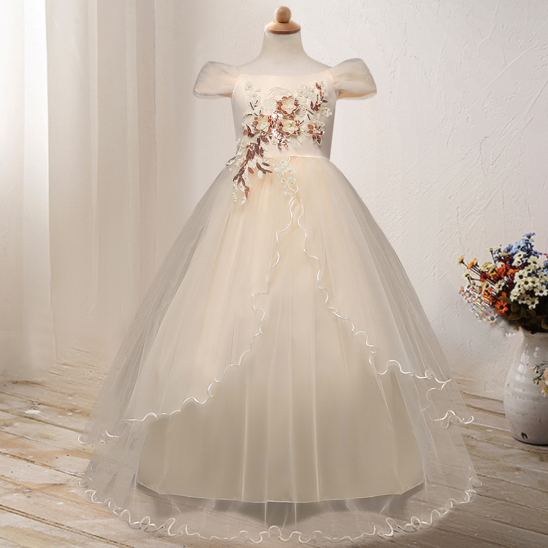 2019 Children Catwalks Wedding Dress Kids Camisole Off-Shoulder Gauze Piano Costume Host Long Skirts