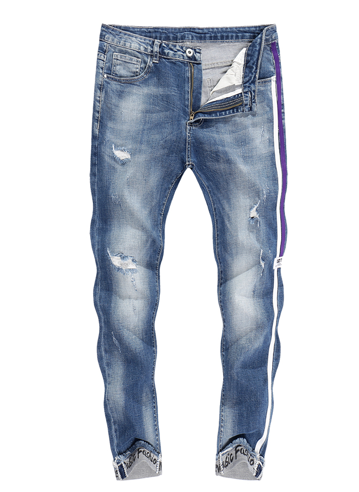 KSTUN Skinny Jeans Men Cropped Pants Ripped Stretch LIght Blue Side Striped Cuffs Casual Yong Boys Jeans Hiphop Distressed Jeans 11
