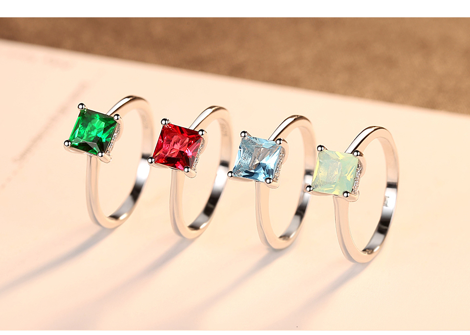 CZCITY Emerald Simple Female Zircon Stone Finger Ring 925 Sterling Silver Women Jewelry Prom Wedding Engagement Rings Brand Gift Hc2f03853f702452fa71d265bd5fa6c15I ring