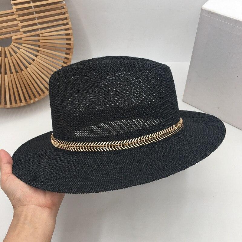 Black hollow out Sir Straw hat female fish bone spur decoration British fashion joker sunshade  summer beach sun hat