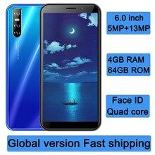 Telefones celulares y6p quad core face id 4g ram 64g rom mt6580 android smartphones originais desbloqueado 6.0