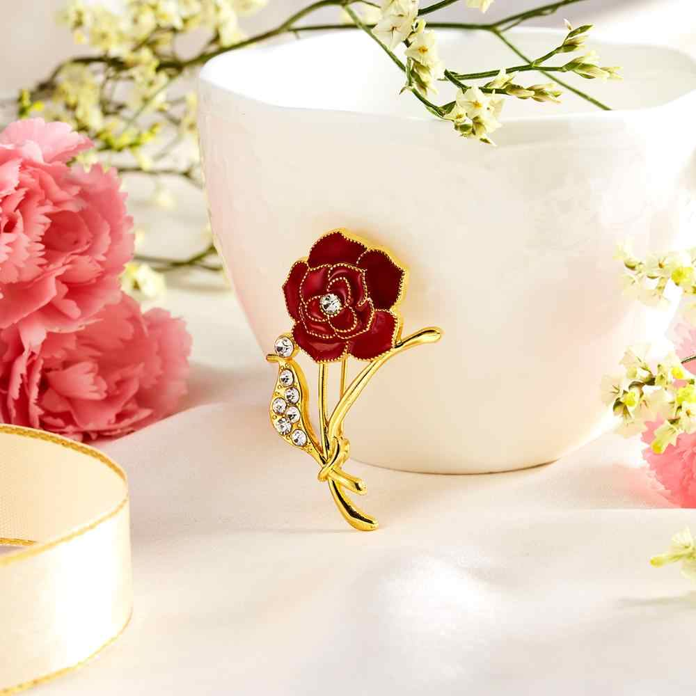 Rinhoo 3D Vintage Hoa Đỏ Thổ Cẩm Chân Cổ Áo Xòe Huy Hiệu Retro Trang Sức Nữ Sang Trọng Cẩm Chướng Hoa Hồng Ngày Của Mẹ quà Tặng