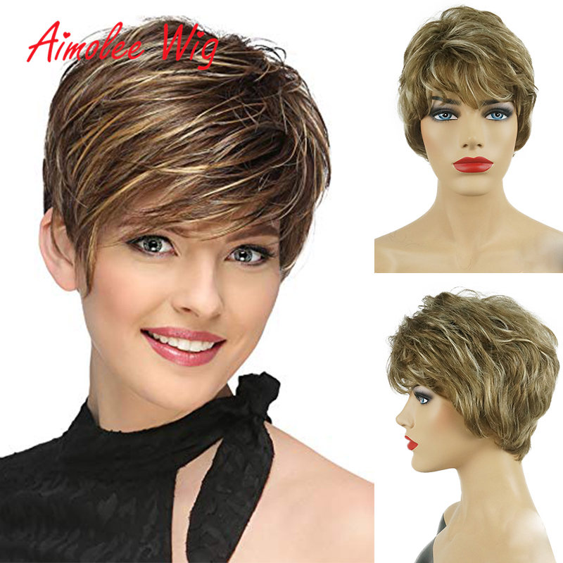 Short Fluffy Ombre Black Grey Highlight Human Hair Synthetic Blend Wigs with Bangs Natural Wave Daily Work Party Wig for Women