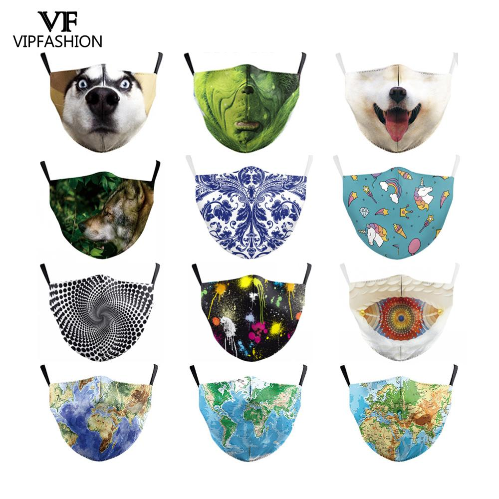 VIP FASHION Reusable Anti-dust Protective PM.25 Masks Cute Cartoon Animal Anime Unicorn Printed Face Masks Adults Unisex Masks