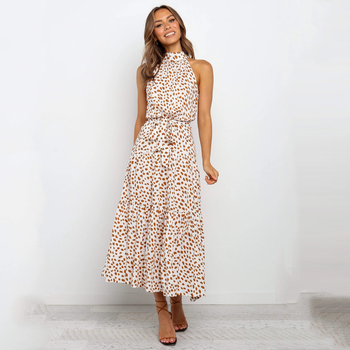 Summer Long Dress Polka Dot Casual Dresses Black Sexy Halter Strapless New 2020 Yellow Sundress Vacation Clothes For Women 12