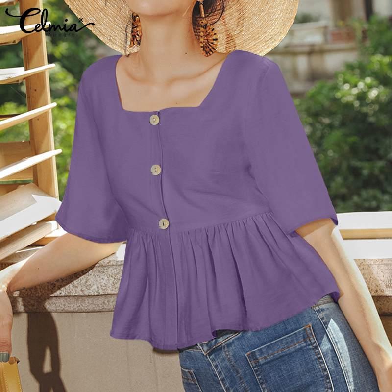 Celmia Women Summer Sexy Tops 2021 Fashion Half Sleeve Square Collar Peplum Shirts Solid Ruffles Elegant Office Blusas Plus Size