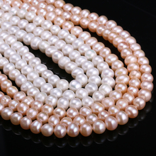 Hot Sale Natural Freshwater Cultured Pearls Beads Round 100% for Jewelry Making Necklace Bracelet 15 Size 7-8mm
