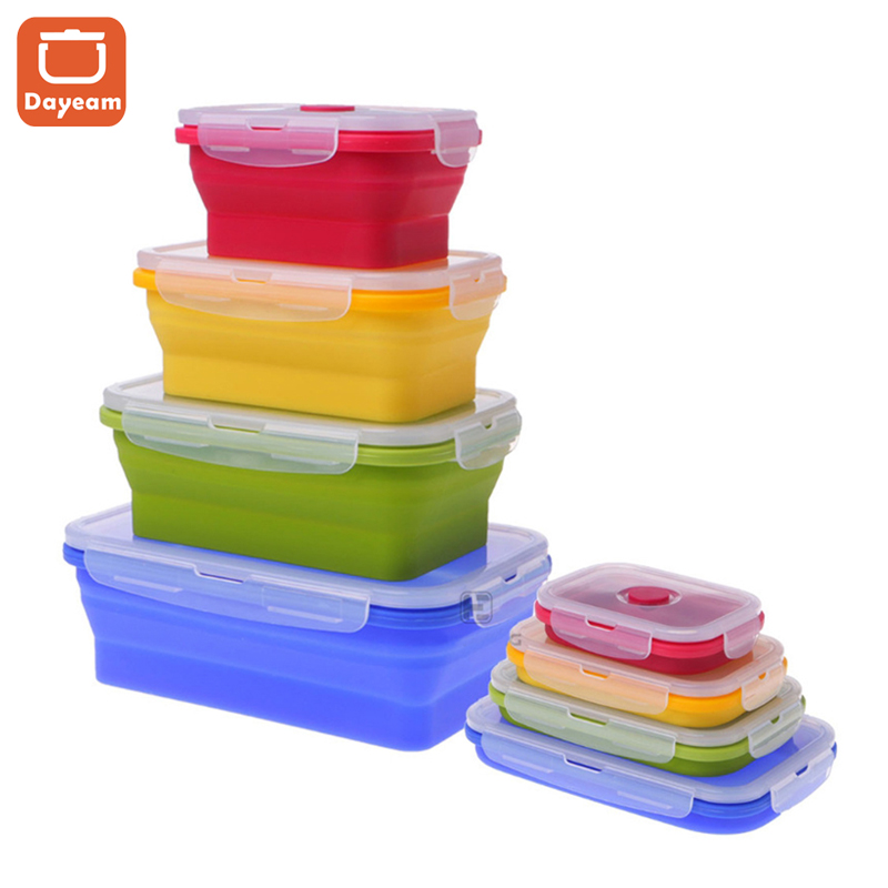 Folding Silicone Outdoor Traveling Lunch Box, Collapsible Lunch Box, Portable Food Storage Container