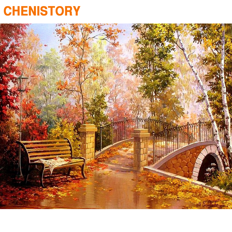 CHENISTORY Frame DIY Painting By Numbers Autumn Garden Landscape Picture By Numbers Handpainted Canvas Painting For Home Decor