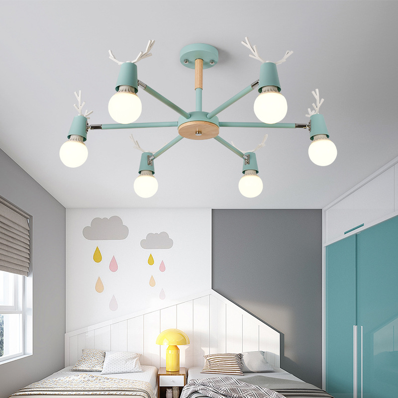 Northern European-Style Living Room Ceiling Lamp Antlers Creative Cool Iron Art Simple Bedroom Restaurant Light Macarons Lamps W