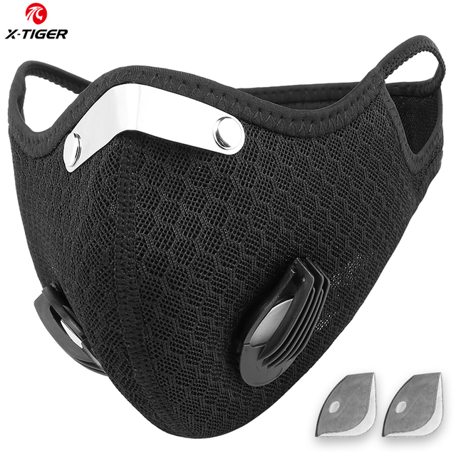 X-TIGER Anti-Pollution Cycling Mask With 2  Filter Activated Carbon Filter Bicycle Sports Masque Lavable Mask PM 2.5 Face Mask