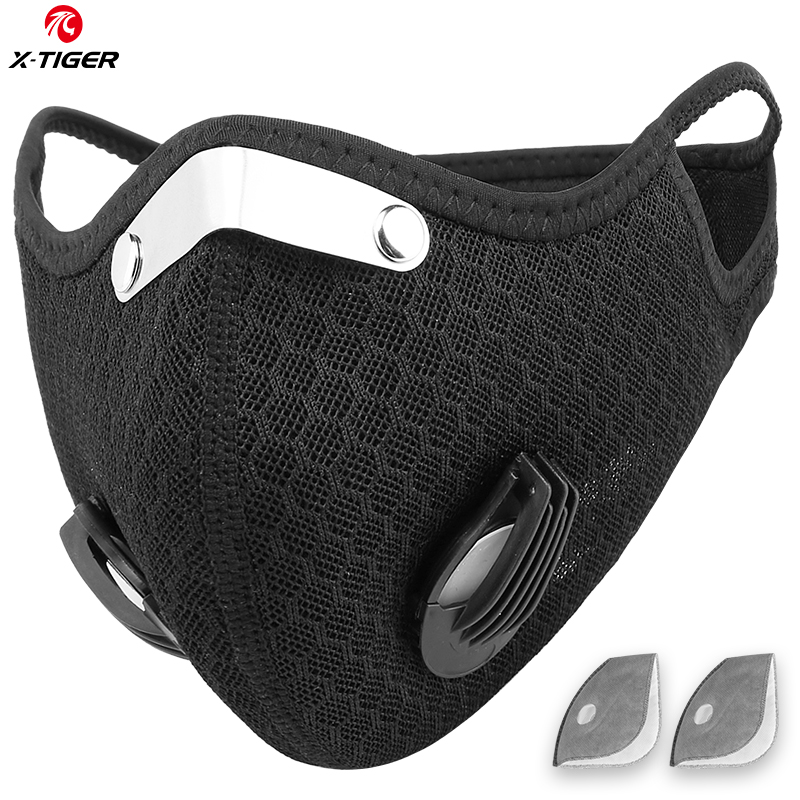 X-TIGER Anti-Pollution Cycling Mask With 2  Filter KN95 Activated Carbon Filter Antiviral Bicycle Sports Mask PM 2.5 Face Mask