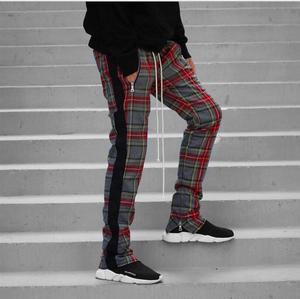 Image 2 - Vintage Scottish Plaid Joggers Pants Mens Tartan Track Pants Justin Bieber Drawstring Ankle Strap Zip Patch Sweatpants Hip hop