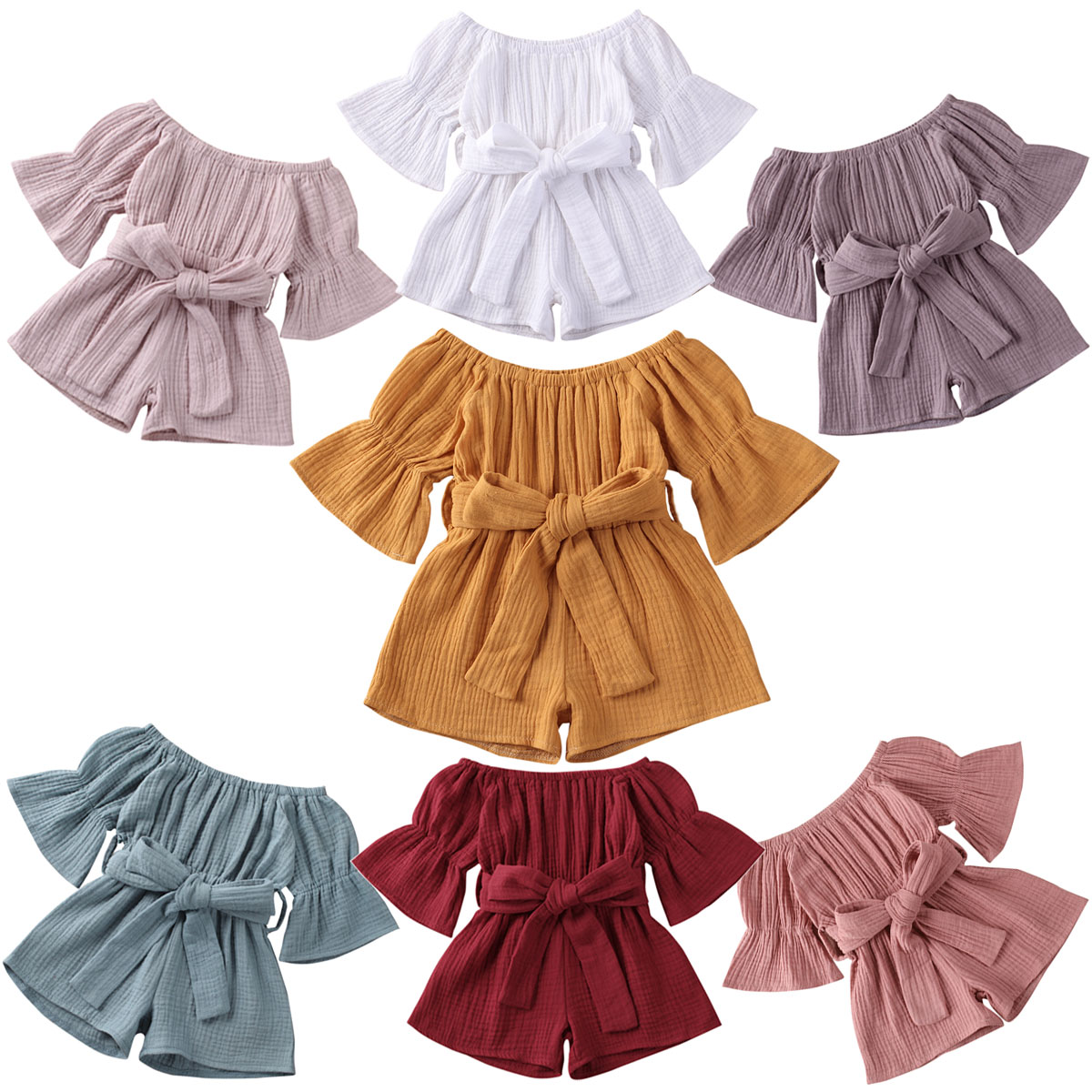 Infant Baby Girls Romper 6M-5T Rompers Overalls 7 Colors Flare Sleeve Solid Jumpsuits Clothes