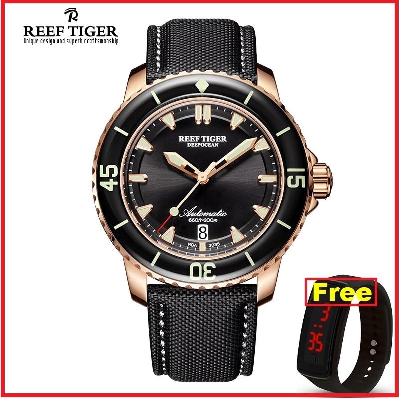Dial Watches Tiger/rt 200m Waterproof Strap Dive Mens Blue Nylon RGA3035 Analog Super-Luminous