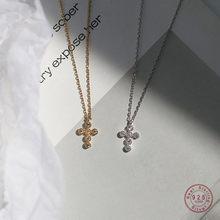 Collier en argent Sterling 925 avec pendentif en croix de cristal Pavé Simple pour femmes, bijou de fête de mariage, cadeau pour petite amie