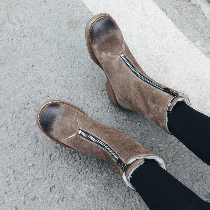 MORAZORA 2020 yeni süet deri yarım çizmeler fermuar yüksek kaliteli vintage kış kar botları kadın retro sıcak batı kar botları