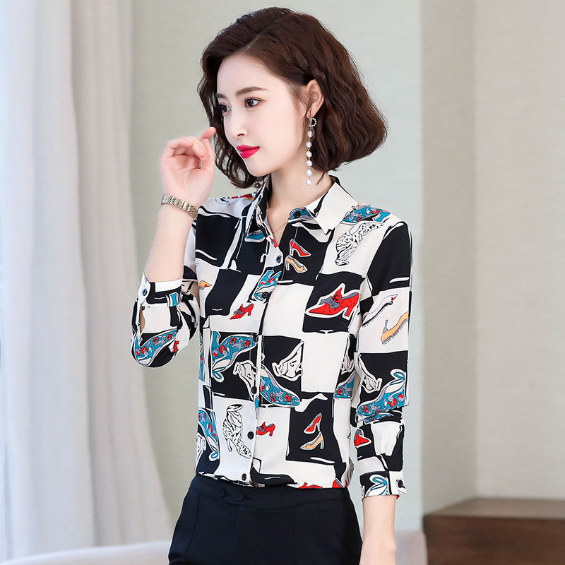 Women's Spring Summer Style Chiffon Blouses Shirts Women's Printed Button Turn-down Collar Printed Casual Tops SP567 11