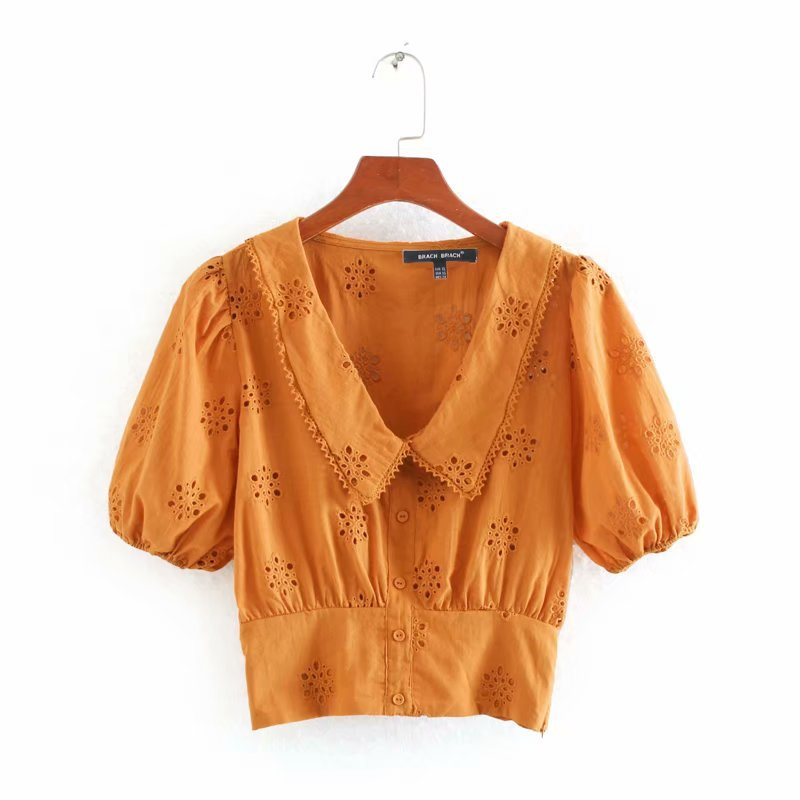 2020 Blouse Women Yellow Embroidered Cotton Zaraing Women Blouse Vadiming Sheining Shirt Plus Size Vintage Tops Clothes Cdc9650
