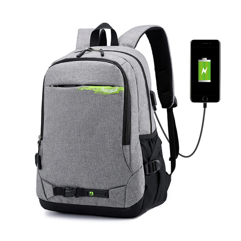 Men Anti-theft Backpack USB Charging Knapsack Business Notebook Schoolbag Nylon