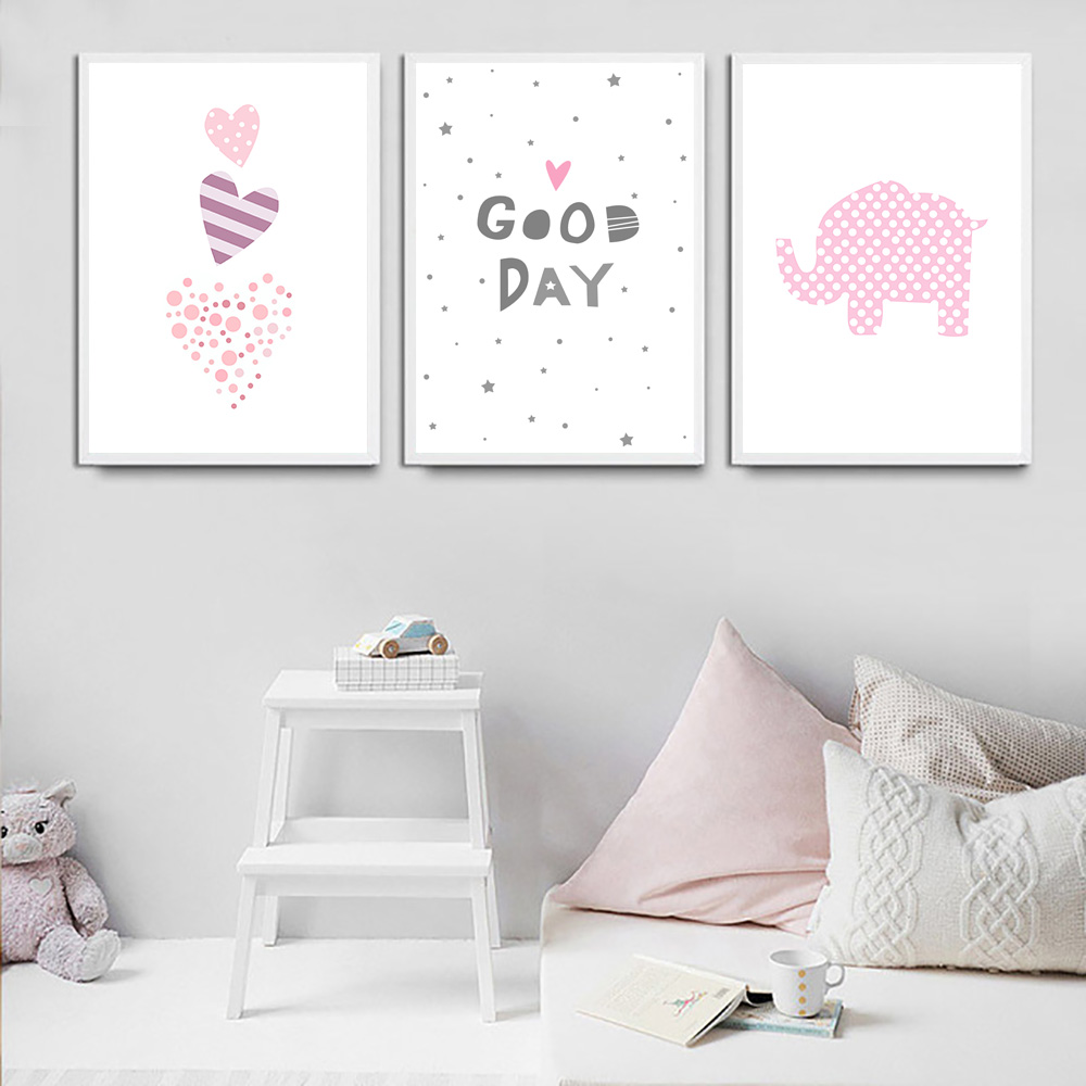 Pink Elephant Canvas Print Colorful Heart Wall Painting Quotes Poster Nursery Canvas Art Print Baby Kids Room Picture Wall Decor