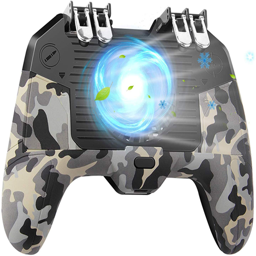 Mobile Game Controller 4 Trigger with 2000/4000mAh Power Bank Cooling Fan Gamepad Trigger for 4.7-6.5 iOS Android Phone image