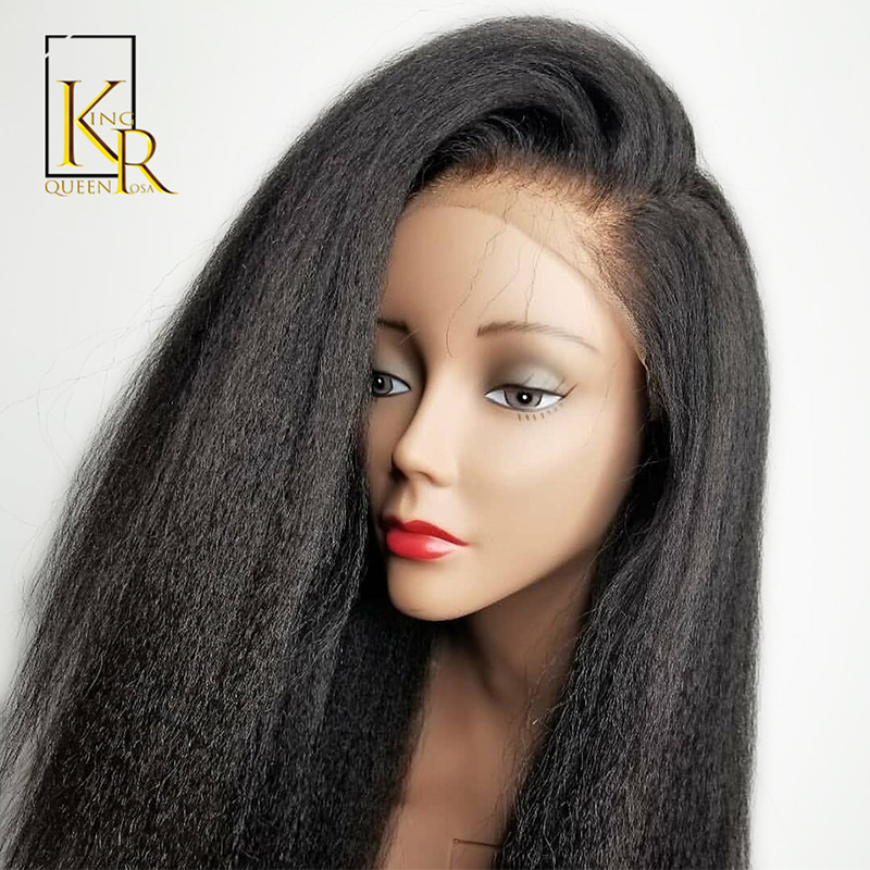 Kinky Straight Wig Brazilian Remy 13x4Lace Front Human Hair Wigs For Black Women Italian Yaki With Baby Natural PrePlucked VSBOB