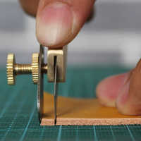 DIY Cutting Knife Brass Leather Positioning Cutter Copper Trimming Knife Leather Craft Tool Cutting Tool
