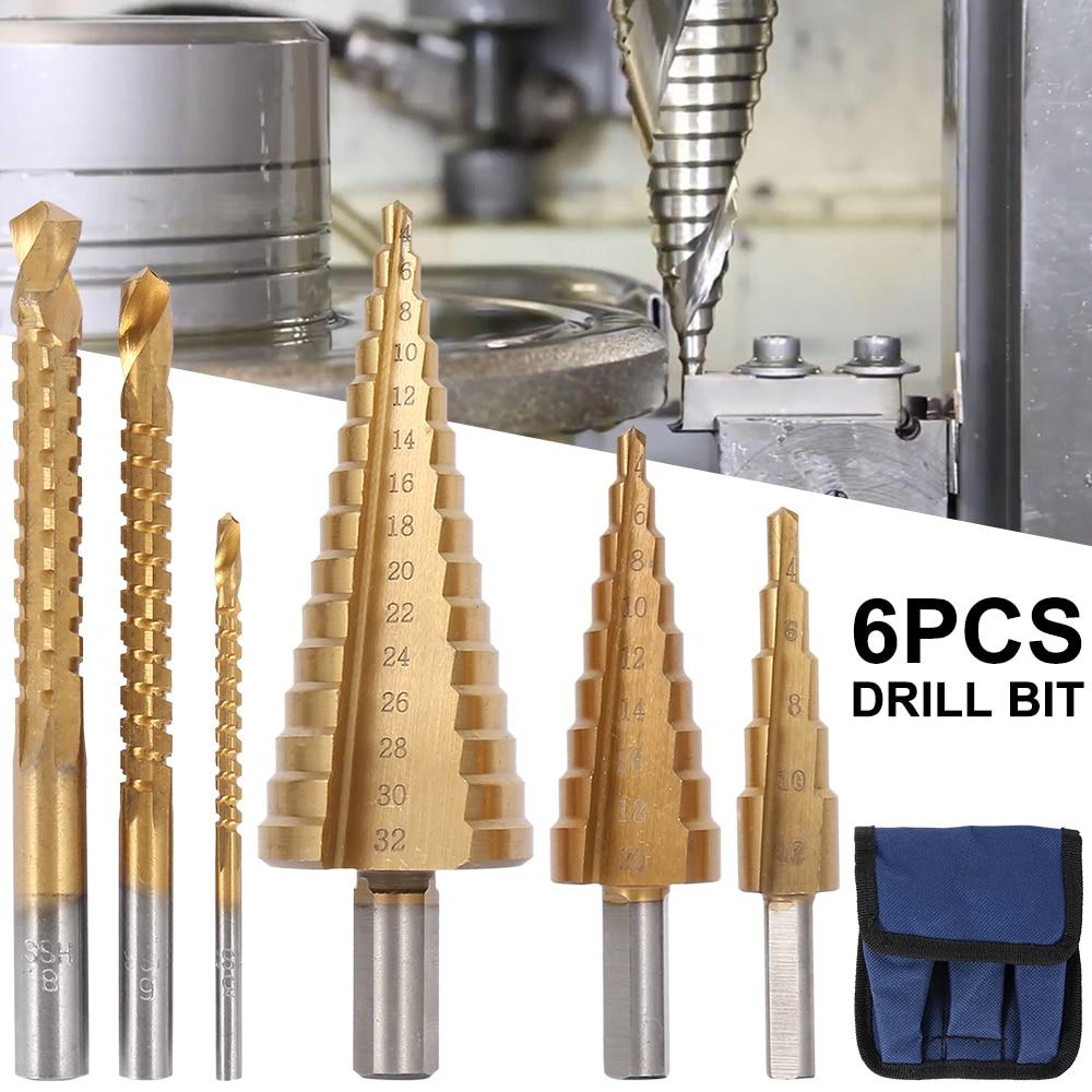 6 шт. набор ступенчатых Сверл из быстрорежущей стали и титана 4 12/20/32 мм, резец с металлическим отверстием, сверлильный инструмент с конусным сердечником + 3,6,8 пила|Сверла|   | АлиЭкспресс