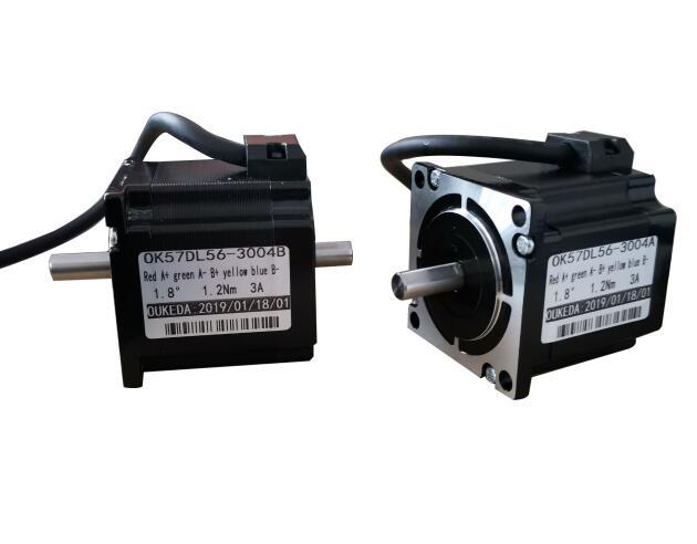 OK57DL56-3004A 3004B 57 23 4-chumbo Nema Motor de Passo duplo eixo do motor 42BYGH 57 3A CE ROSH ISO CNC laser Moer Foam Plasma Cut