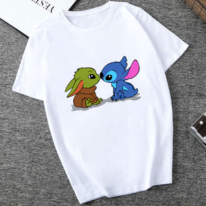 Showtly Lilo & Stitch and Baby Yoda Kiss Mandalorian Sweatshirt Men/Women Star Wars Space T shirt 90S Science Fiction Movies top(China)