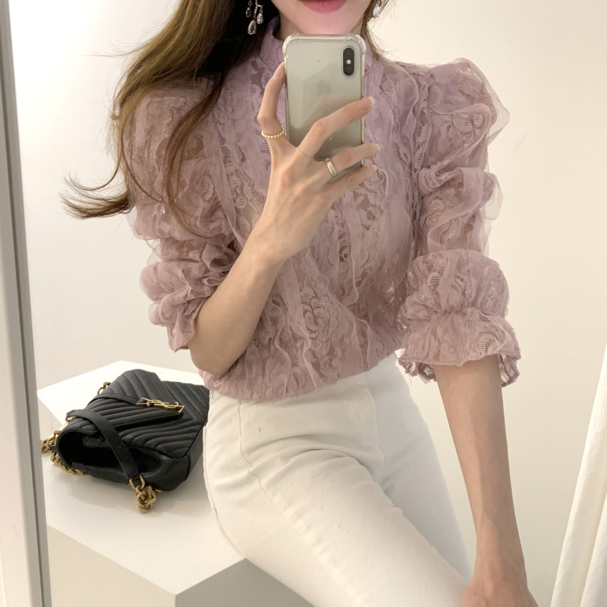 Hc2f1aa686fcc4f638d69a11a2f15e3330 - Spring / Autumn Stand Collar Puff Sleeves Mesh Lace Crochet Flower Blouse
