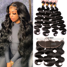 Body Wave Bundles with Frontal Closure Maxine 100% Human Hair 13x4 Lace Frontal with Bundles 30 Inch Bundles and a Frontal